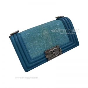 Chanel Small Seawater Blue Stingray Embossed Calfskin Flap Bag With Silver HW