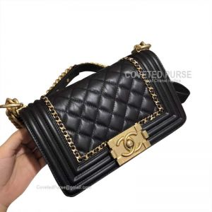 Chanel Small Boy Bag Chain Around In Black Crumpled Calfskin With Gold HW