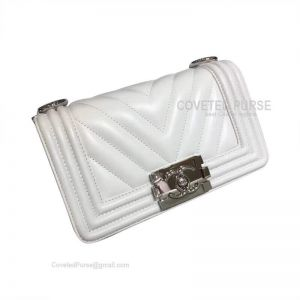 Chanel Boy Bag Small In White Lambskin Chevron With Shiny Silver HW
