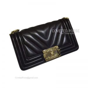 Chanel Boy Bag Small In Black Lambskin Chevron With Shiny Gold HW