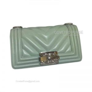 Chanel Boy Bag Small In Matcha Green Lambskin Chevron With Shiny Silver HW