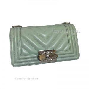 Chanel Boy Bag Small In Matcha Green Lambskin Chevron With Shiny Silver HW