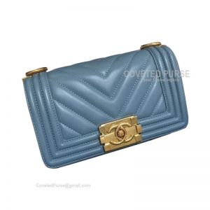 Chanel Boy Bag Small In Haze Blue Lambskin Chevron With Gold HW