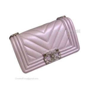 Chanel Boy Bag Small In Pearl Pink Lambskin Chevron With Shiny Silver HW