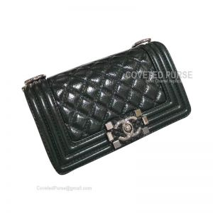 Chanel Boy Bag Small In Blackish Green Wax Calfskin With Shiny Silver HW