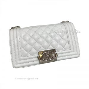 Chanel Boy Bag Small In White Caviar With Shiny Silver HW