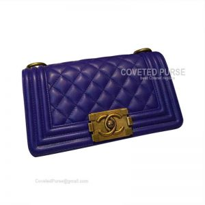 Chanel Boy Bag Small In Electric Blue Caviar With Gold HW