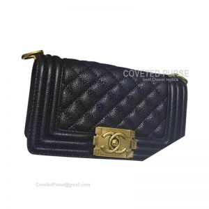 Chanel Boy Bag Small In Black Caviar With Gold HW