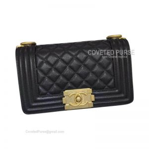 Chanel Boy Bag Small In Black Caviar With Shiny Golden HW