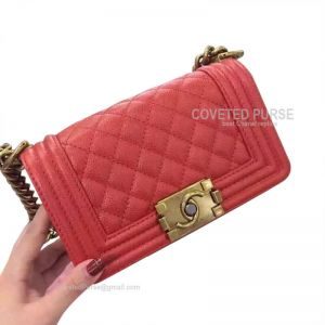 Chanel Boy Bag Small In Pearlite Orange Caviar With Gold HW