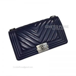 Chanel Boy Bag Medium In Sapphire Calfskin Chevron With Silver HW