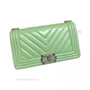 Chanel Boy Bag Medium In Pearlite Green Lambskin Chevron With Shiny Silver HW