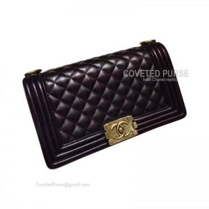 Chanel Boy Bag Medium In Black Lambskin With Gold HW
