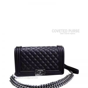 Chanel Boy Bag Medium In Black Lambskin With Silver HW