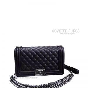 Chanel Boy Bag Medium In Black Lambskin With Silver HW