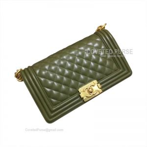 Chanel Boy Bag Medium In Military Green Lambskin With Gold HW