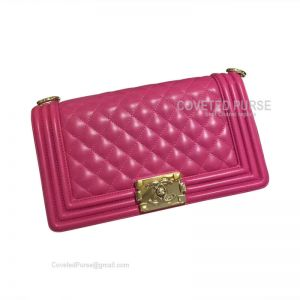 Chanel Boy Bag Medium In Rose Lambskin With Shiny Gold HW