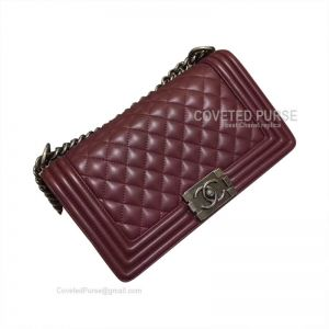 Chanel Boy Bag Medium In Bordeaux Lambskin With Silver HW