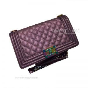 Chanel Boy Bag Medium In Purple Lambskin With Shiny Gold HW