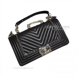Chanel Boy Bag Medium Chevron In Black Lambskin With Shiny Silver HW