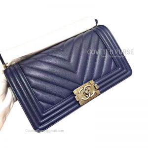 Chanel Boy Bag Medium In Navy Blue Caviar Chevron With Silver HW
