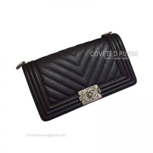 Chanel Boy Bag Medium In Black Caviar Chevron With Silver HW