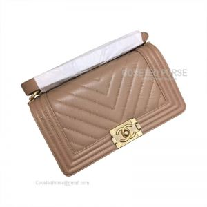 Chanel Boy Bag Medium In Caramel Caviar Chevron With Shiny Gold HW