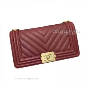 Chanel Boy Bag Medium In Bordeaux Caviar Chevron With Gold HW