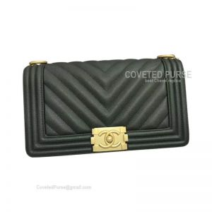 Chanel Boy Bag Medium In Emerald Caviar Chevron With Shiny Gold HW