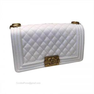 Chanel Boy Bag Medium In White Caviar With Gold HW