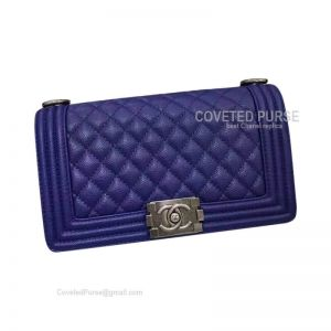 Chanel Boy Bag Medium In Electric Blue Caviar With Silver HW