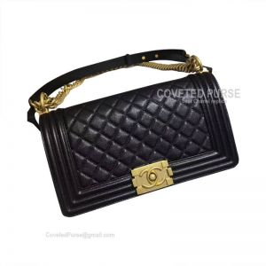 Chanel Boy Bag Medium In Black Caviar With Shiny Golden HW