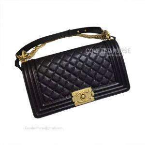 Chanel Boy Bag Medium In Black Caviar With Golden HW