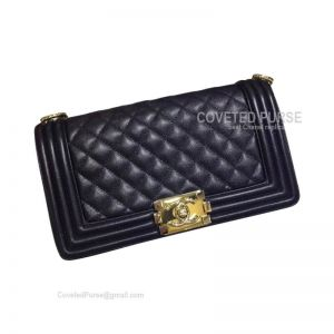Chanel Boy Bag Medium In Black Caviar With Shiny Gold HW