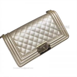 Chanel Boy Bag Medium In Gold Caviar With Shiny Gold HW