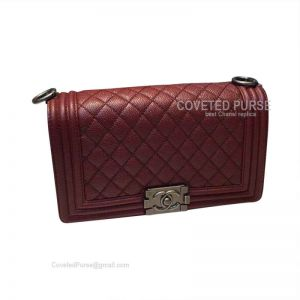 Chanel Boy Bag Medium In Wine Caviar With Silver HW