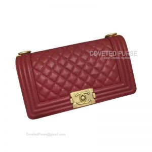 Chanel Boy Bag Medium In Wine Caviar With Shiny Gold HW