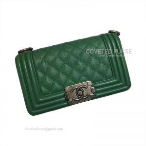 Chanel Boy Bag Medium In Green Caviar With Silver HW