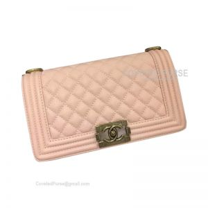 Chanel Boy Bag Medium In Light Pink Caviar With Gold HW