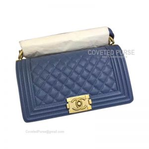 Chanel Boy Bag Medium In Cowboy Blue Caviar With Shiny Gold HW