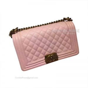 Chanel Boy Bag Medium In Peach Pink Caviar With Gold HW