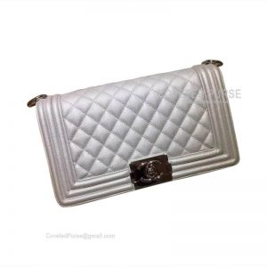 Chanel Boy Bag Medium In Metallic Caviar With Shiny Silver HW