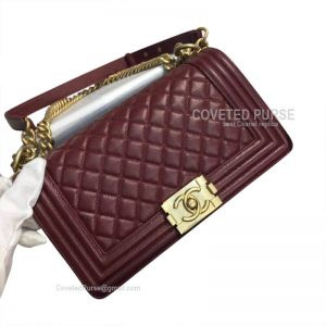 Chanel Boy Bag Medium In Bordeaux Caviar With Shiny Gold HW