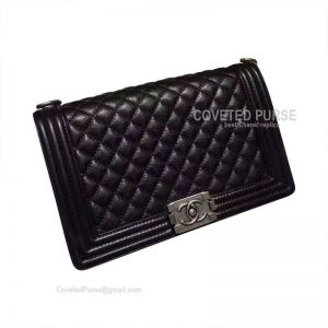 Chanel Boy Bag New Medium In Black Caviar With Silver HW