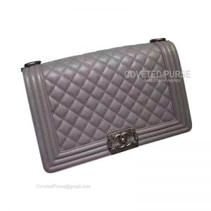 Chanel Boy Bag New Medium In Gray Caviar With Silver HW