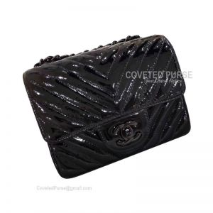 Chanel So Black Mini Flap Bag Patent Chevron With Black HW