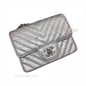 Chanel Mini Flap Bag Patent Chevron In Metallic With Silver HW
