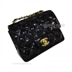 Chanel Mini Flap Bag Patent In Black With Gold HW