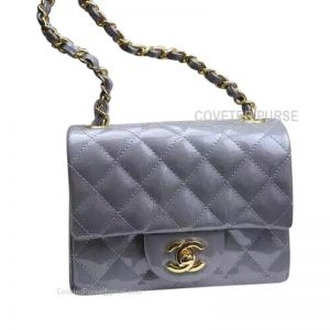 Chanel Mini Flap Bag Patent In Gray With Gold HW