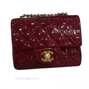 Chanel Mini Flap Bag Patent In Wine With Gold HW